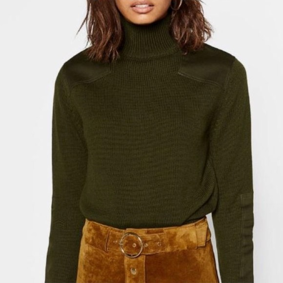 Zara patch olive green knit sweater 💚